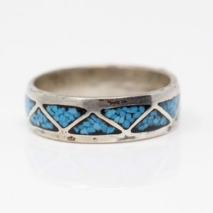 NAVAJO Sterling Turquoise Chevron Band Ring 9